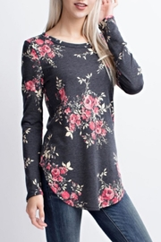 12pm by Mon Ami Charcoal Floral Top - Product Mini Image