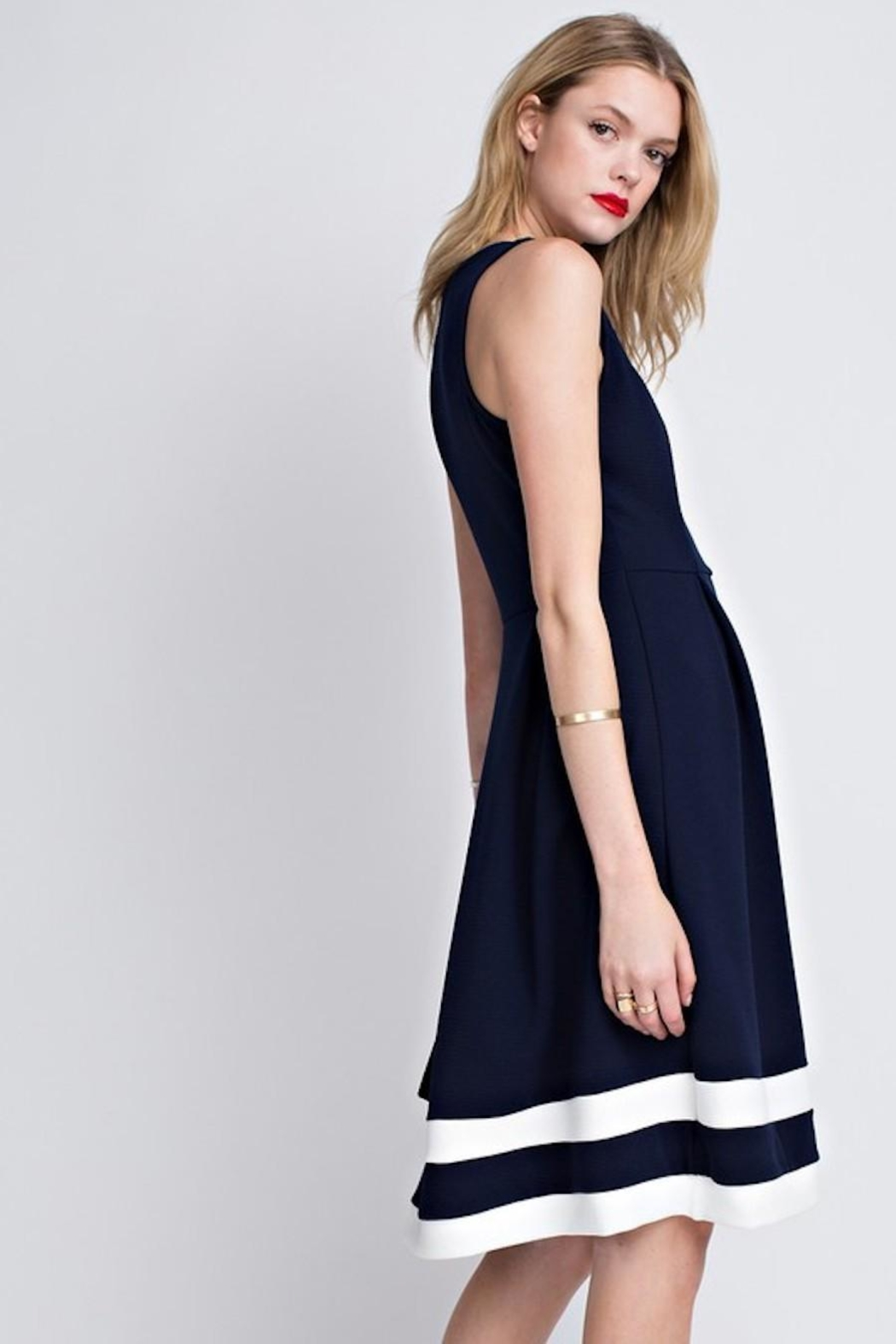 12pm by Mon Ami Classic Navy Dress - Side Cropped Image
