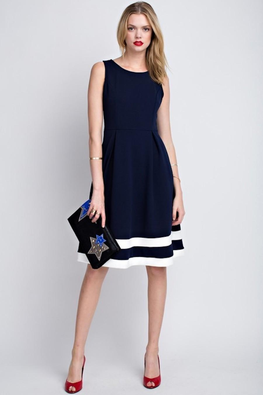 12pm by Mon Ami Classic Navy Dress - Main Image