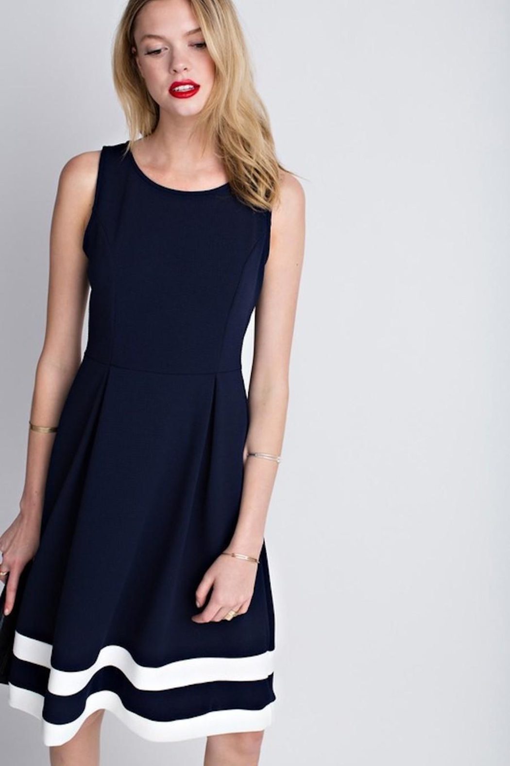 12pm by Mon Ami Classic Navy Dress - Front Full Image