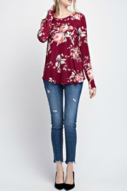 12pm by Mon Ami Floral Burgundy Tee - Back cropped