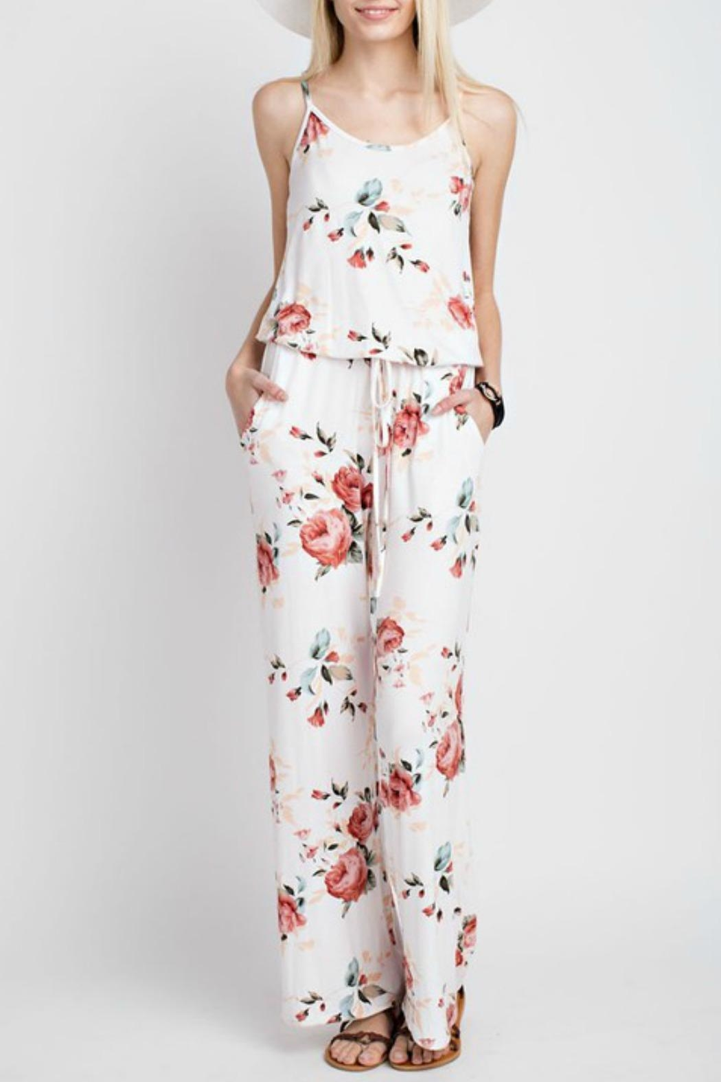 6bf46f42ac2 12pm by Mon Ami Floral Jersey Jumpsuit from Connecticut by Deja Vu ...