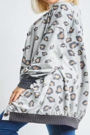 12pm by Mon Ami Grey Animal-Print Cardigan - Front cropped