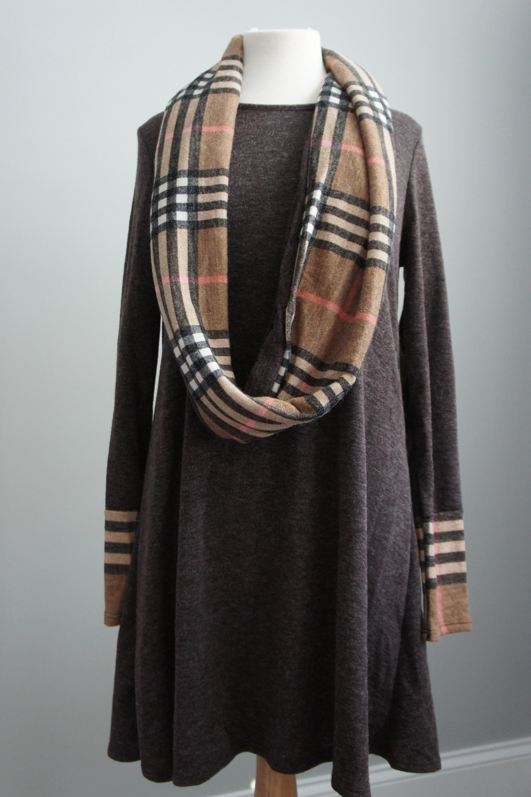 12pm by Mon Ami Infinity-Scarf Plaid-Accent Sweaterdress - Main Image