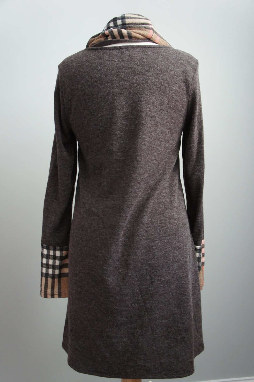 12pm by Mon Ami Infinity-Scarf Plaid-Accent Sweaterdress - Side Cropped Image