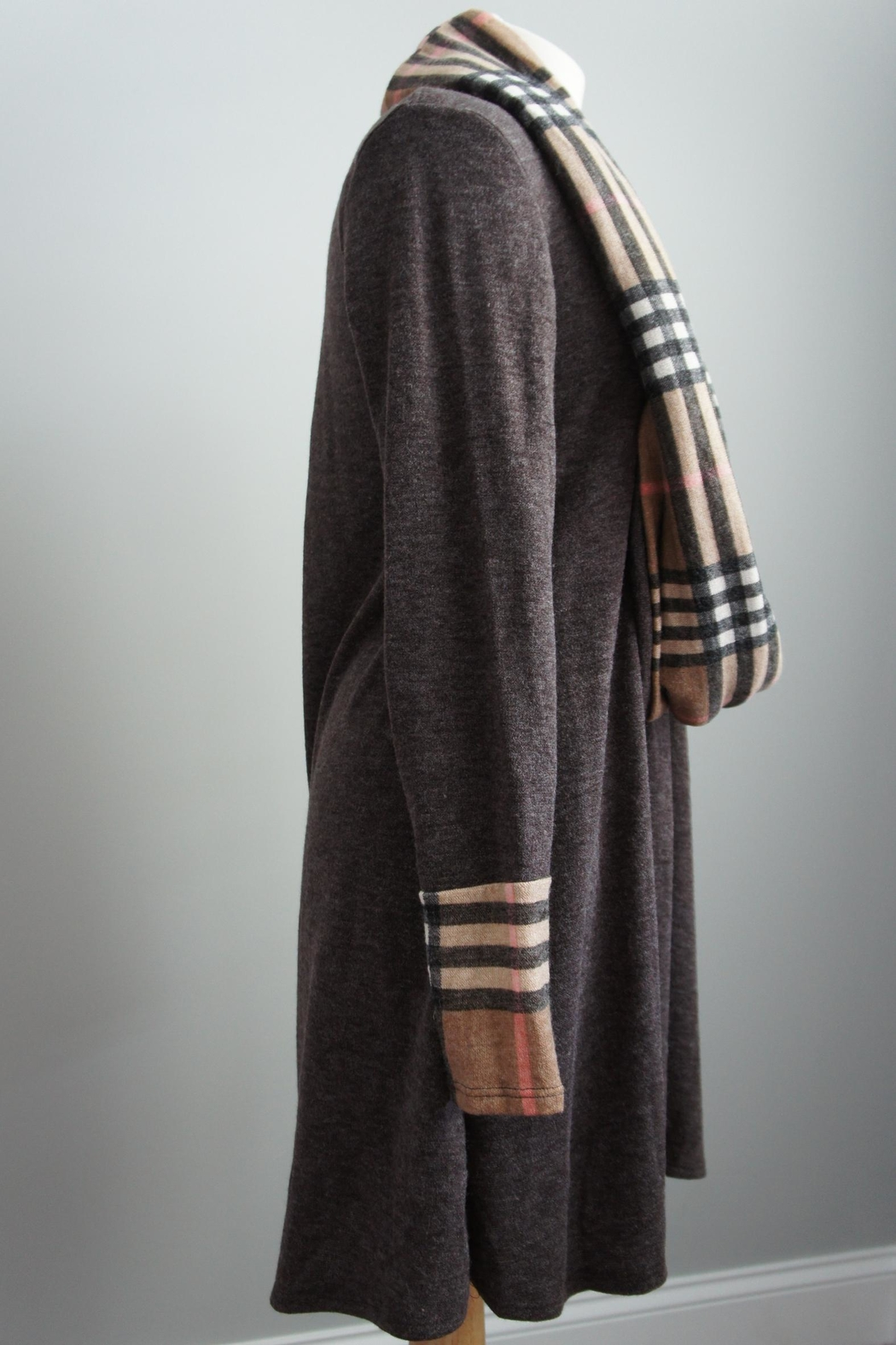 12pm by Mon Ami Infinity-Scarf Plaid-Accent Sweaterdress - Front Full Image