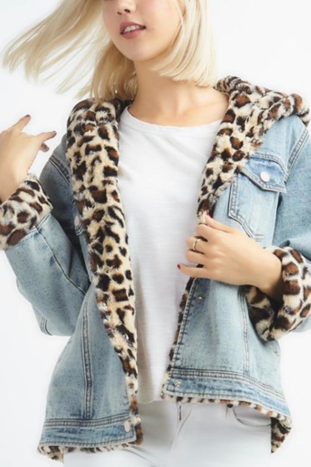 12pm by Mon Ami Leopard Denim - Side Cropped Image