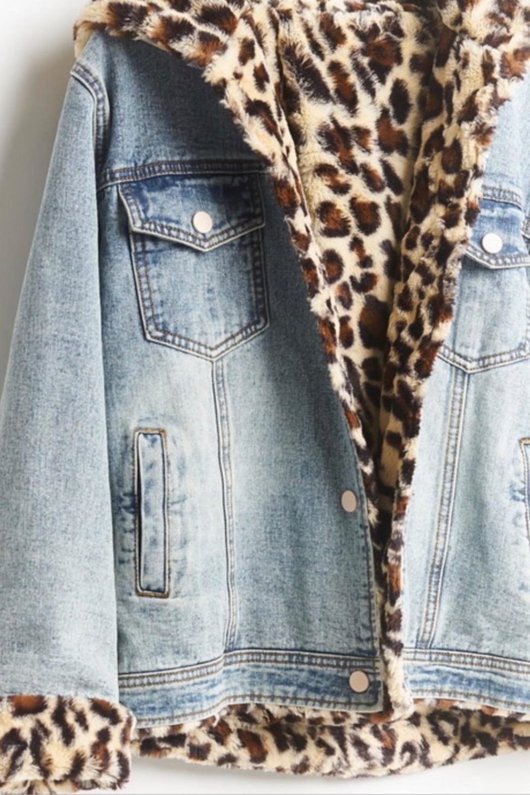 12pm by Mon Ami Leopard Denim - Front Full Image