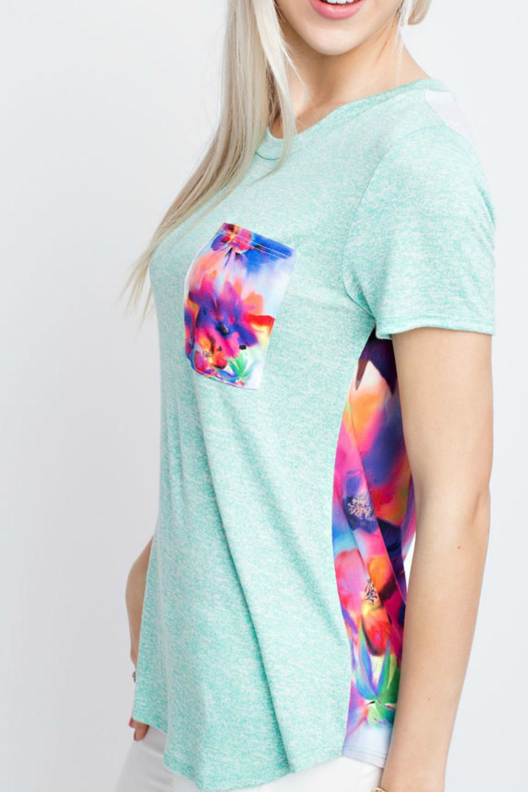 12pm by Mon Ami Mint Floral Top - Front Full Image