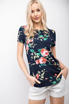 12pm by Mon Ami Navy Floral Comfy Tee - Product List Image