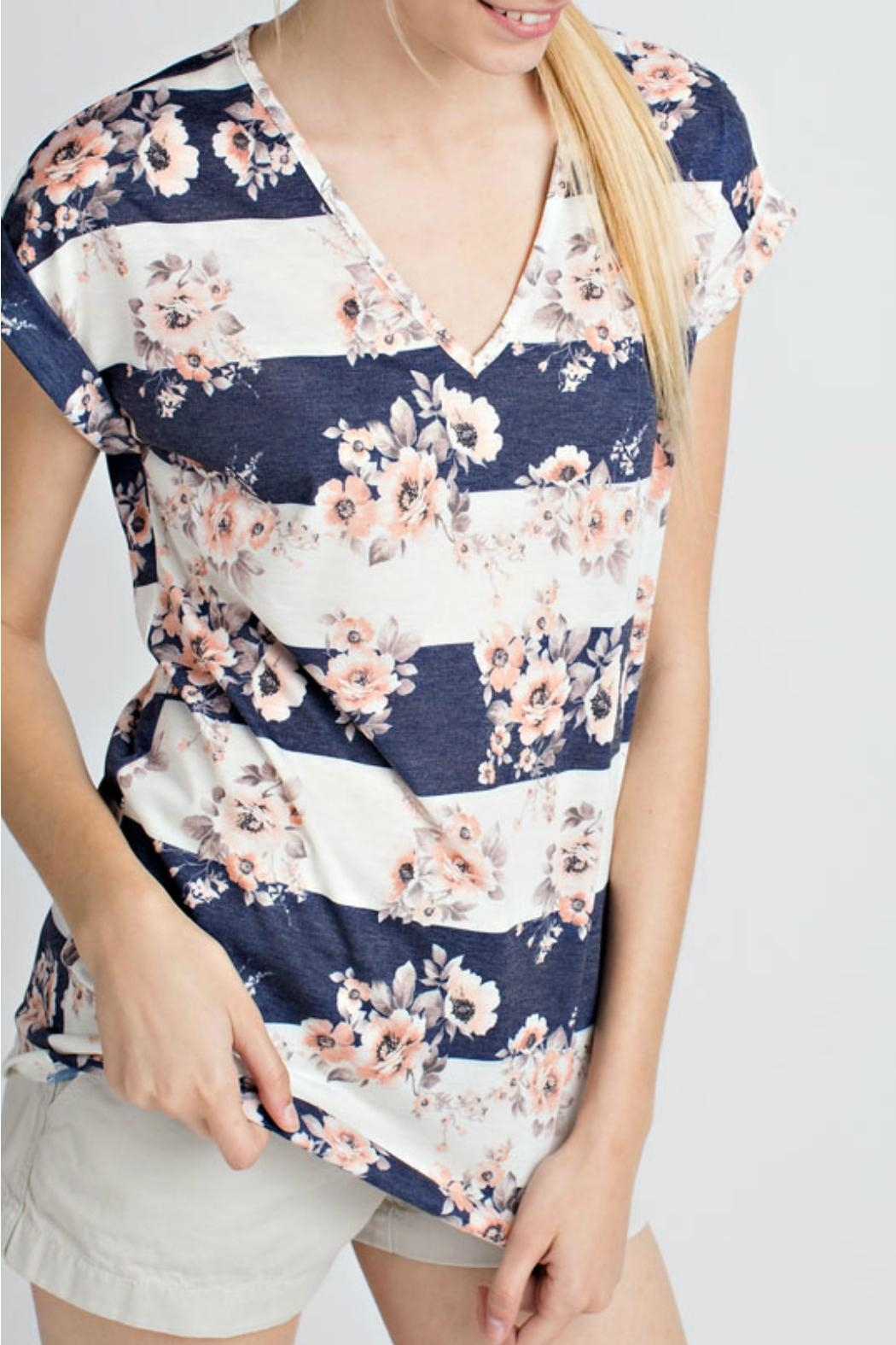 12pm by Mon Ami Navy Floral Top - Main Image