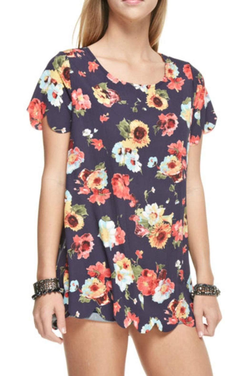 12pm by Mon Ami Navy Floral Top - Front Full Image