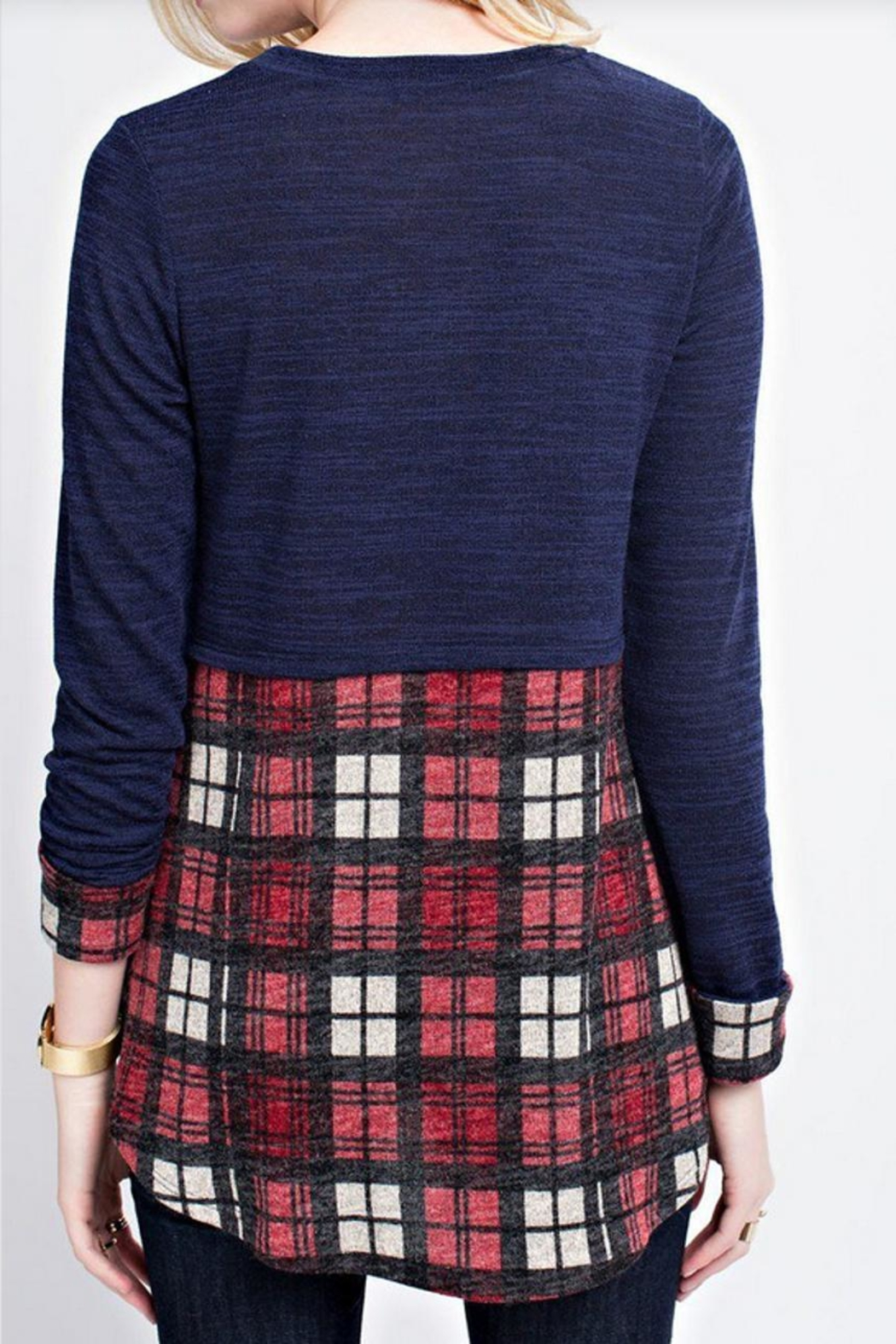 12pm by Mon Ami Plaid Cuff Top - Side Cropped Image