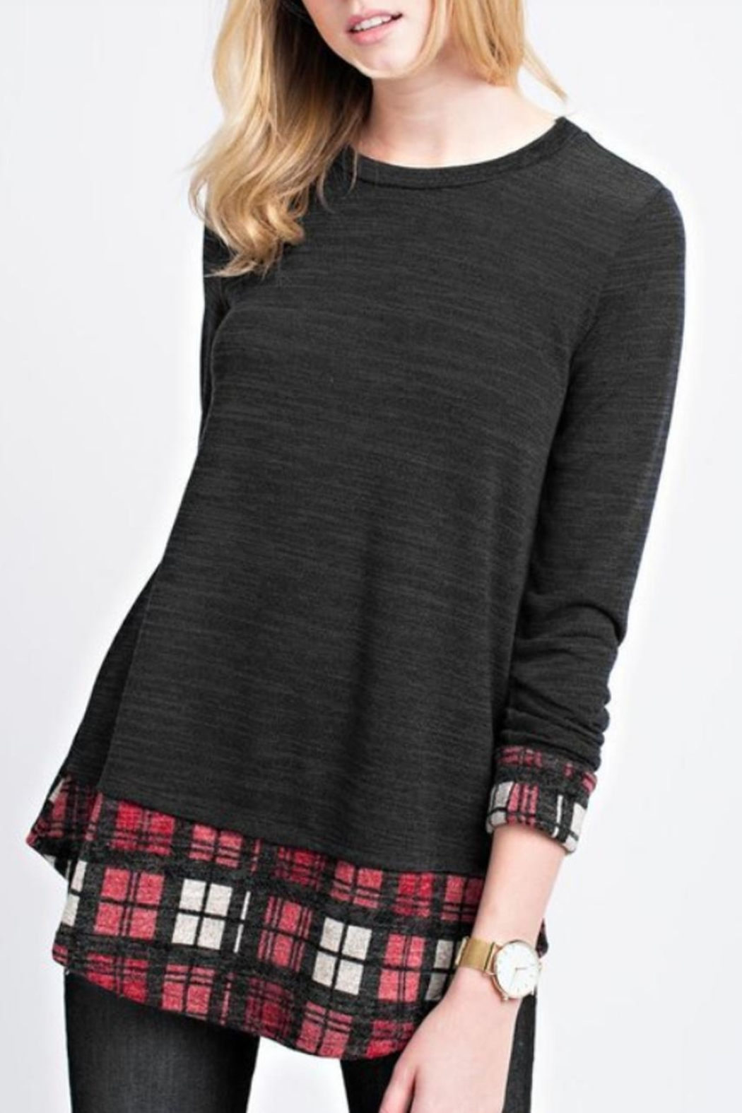 12pm by Mon Ami Plaid Cuff Top - Front Full Image