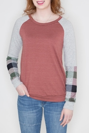 12pm by Mon Ami Plaid Sleeve Top - Product Mini Image