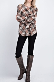 12pm by Mon Ami Plaid Zipper Sweater - Front cropped