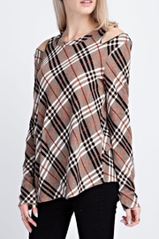 12pm by Mon Ami Plaid Zipper Sweater - Front full body