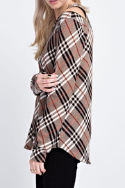 12pm by Mon Ami Plaid Zipper Sweater - Side cropped
