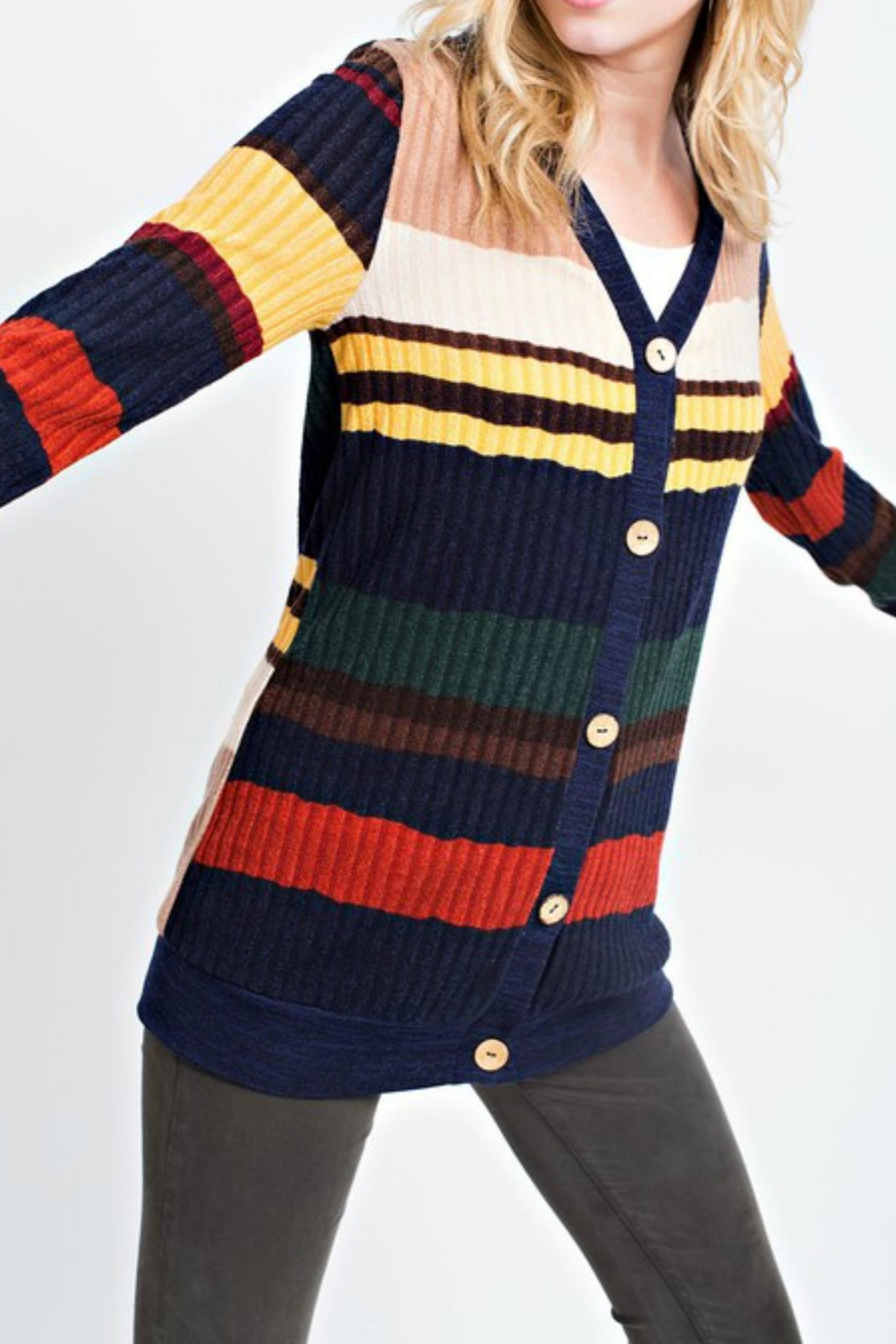 12pm by Mon Ami Primary Color Cardigan - Side Cropped Image