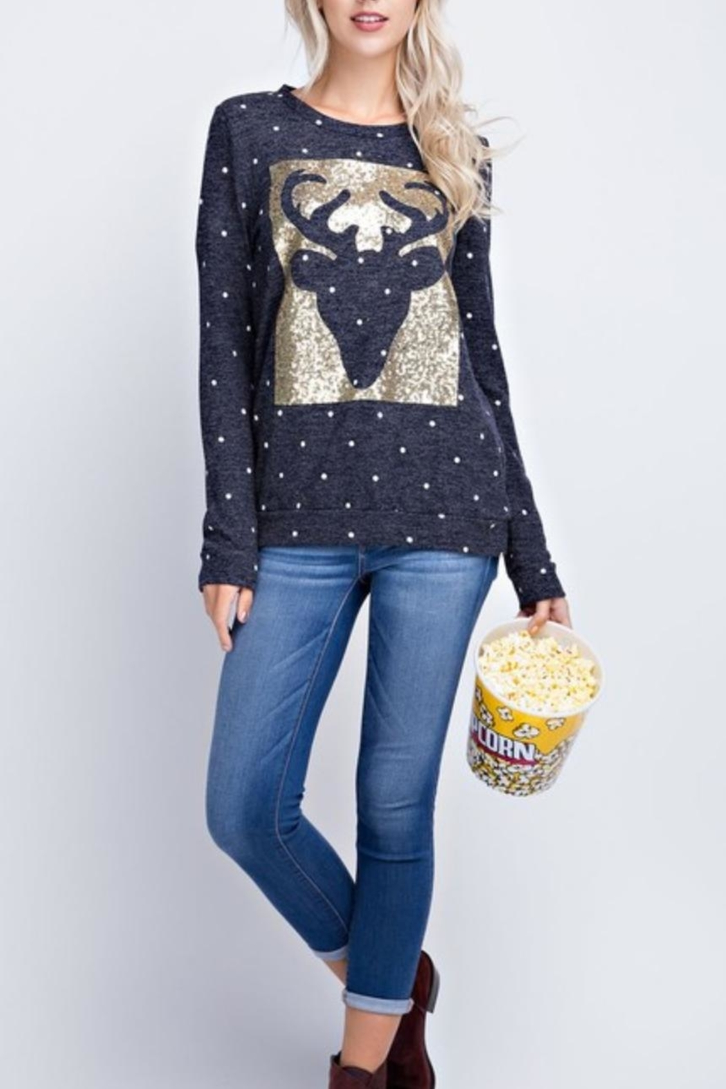 12pm by Mon Ami Reindeer Sequin Sweater - Front Cropped Image