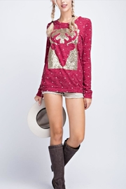 12pm by Mon Ami Reindeer Sequin Sweater - Front cropped