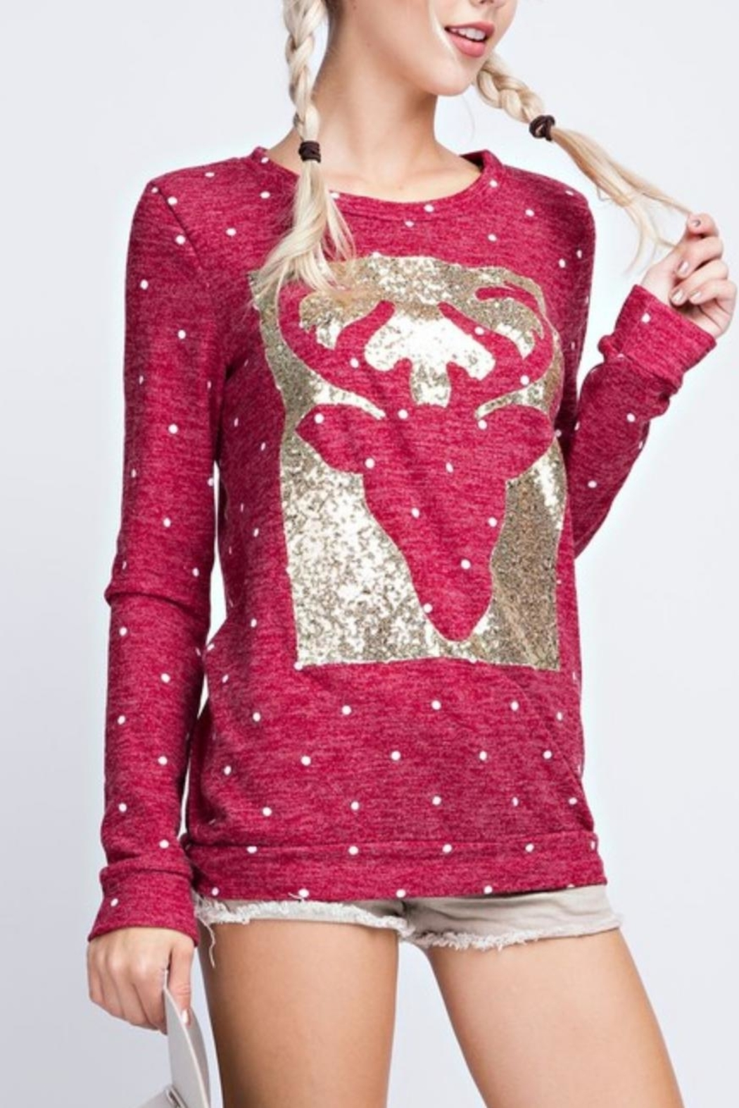 12pm by Mon Ami Reindeer Sequin Sweater - Side Cropped Image