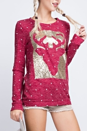 12pm by Mon Ami Reindeer Sequin Sweater - Side cropped