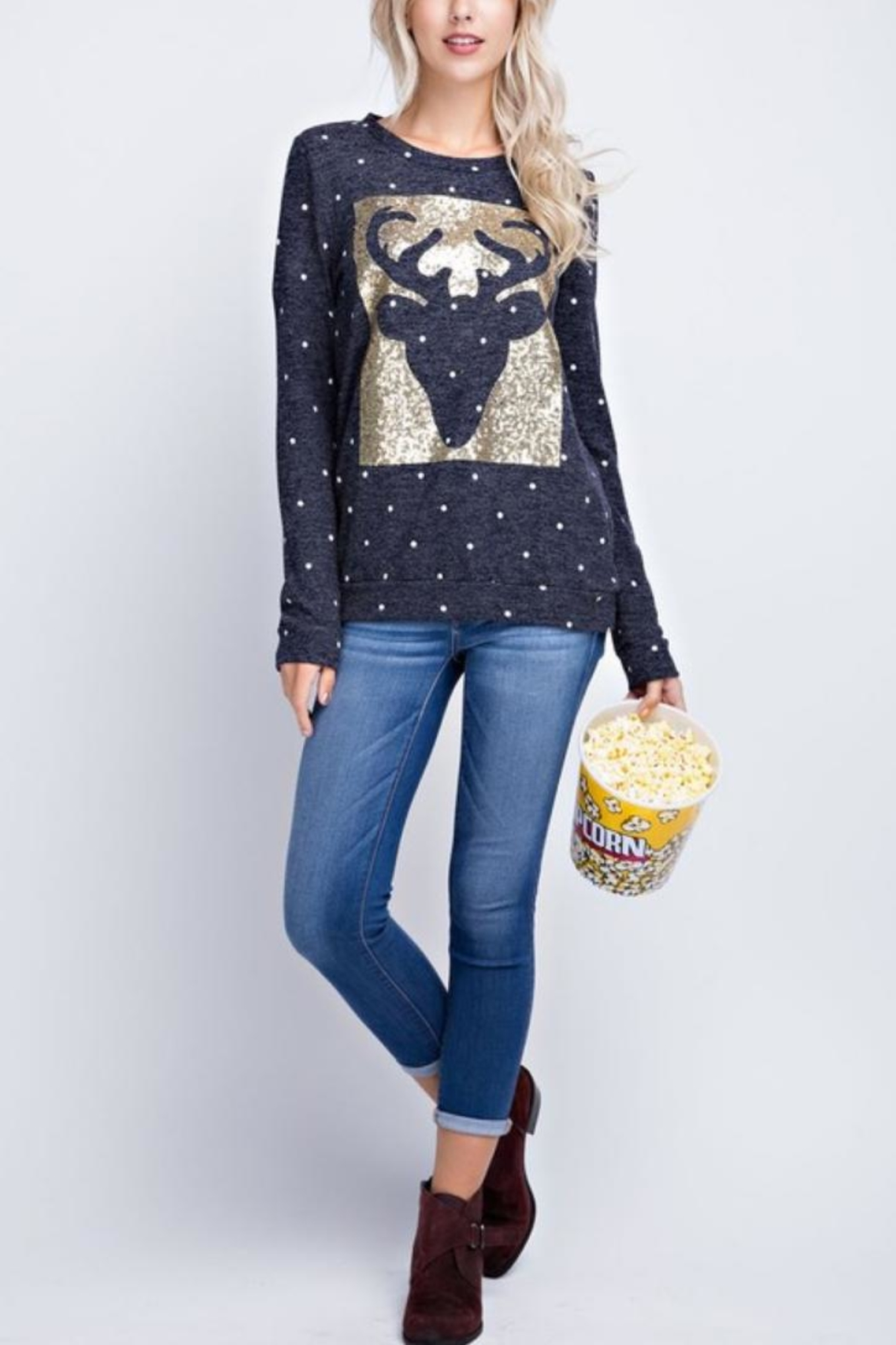 12pm by Mon Ami Reindeer Sequin Sweater - Front Full Image