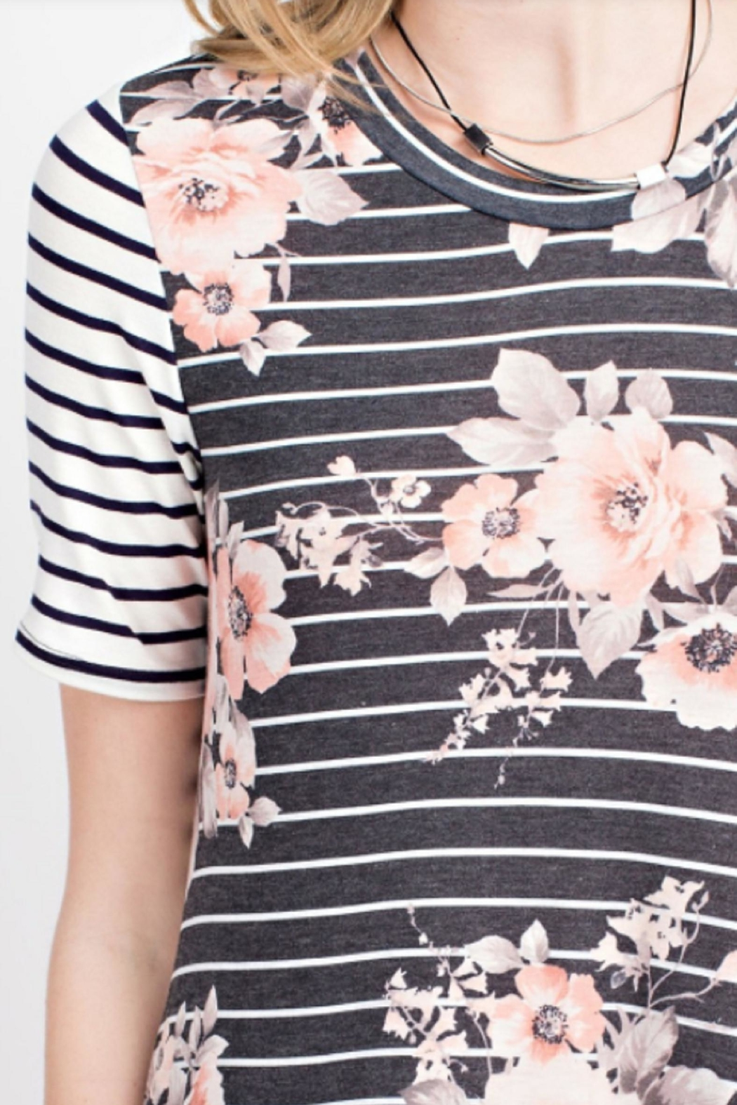 12pm by Mon Ami Striped Floral Dress - Side Cropped Image