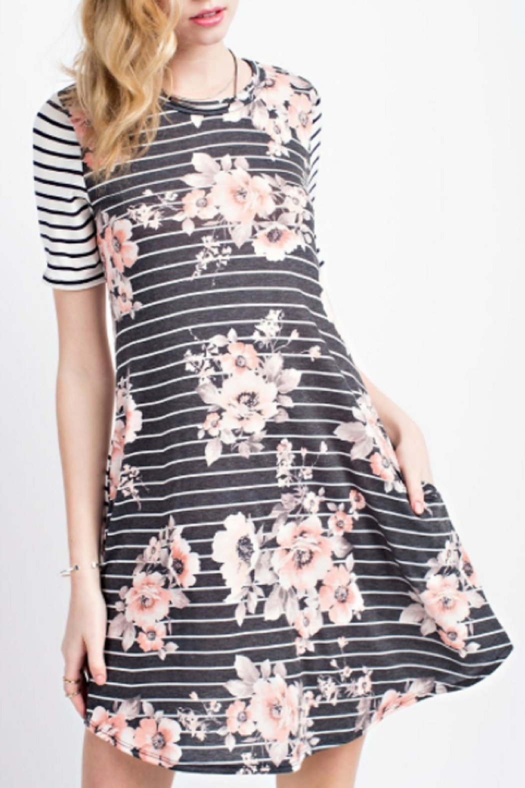 12pm by Mon Ami Striped Floral Dress - Main Image