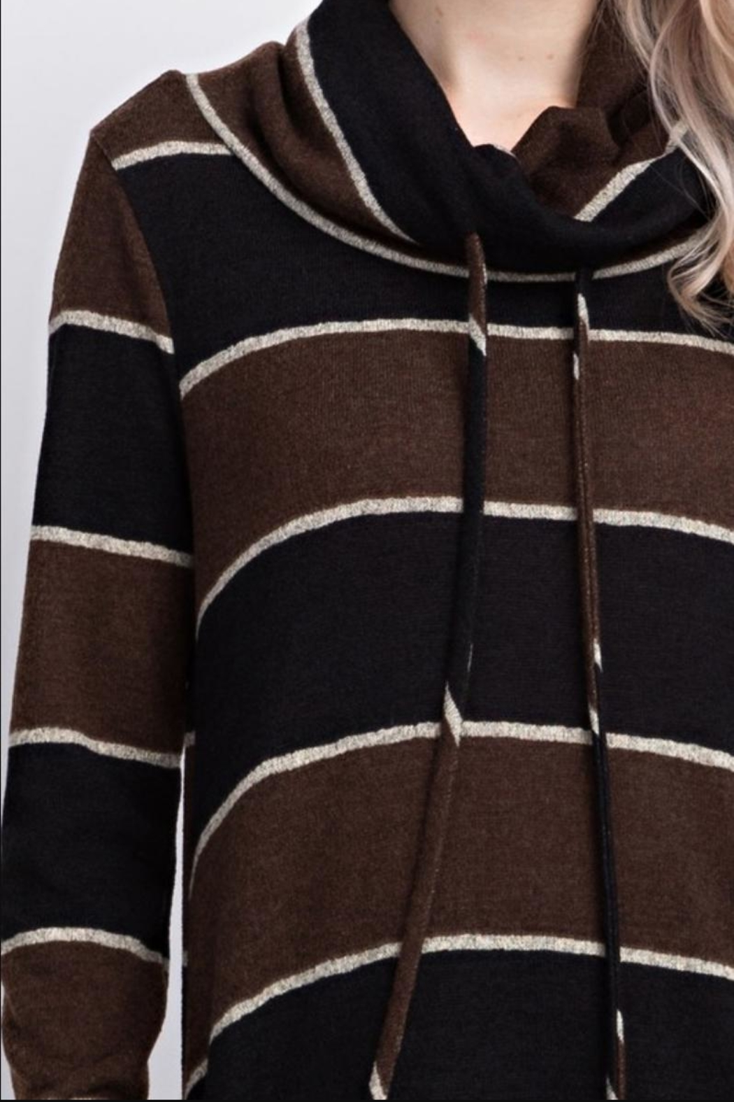 12pm by Mon Ami Striped Funnelneck Pullover - Back Cropped Image