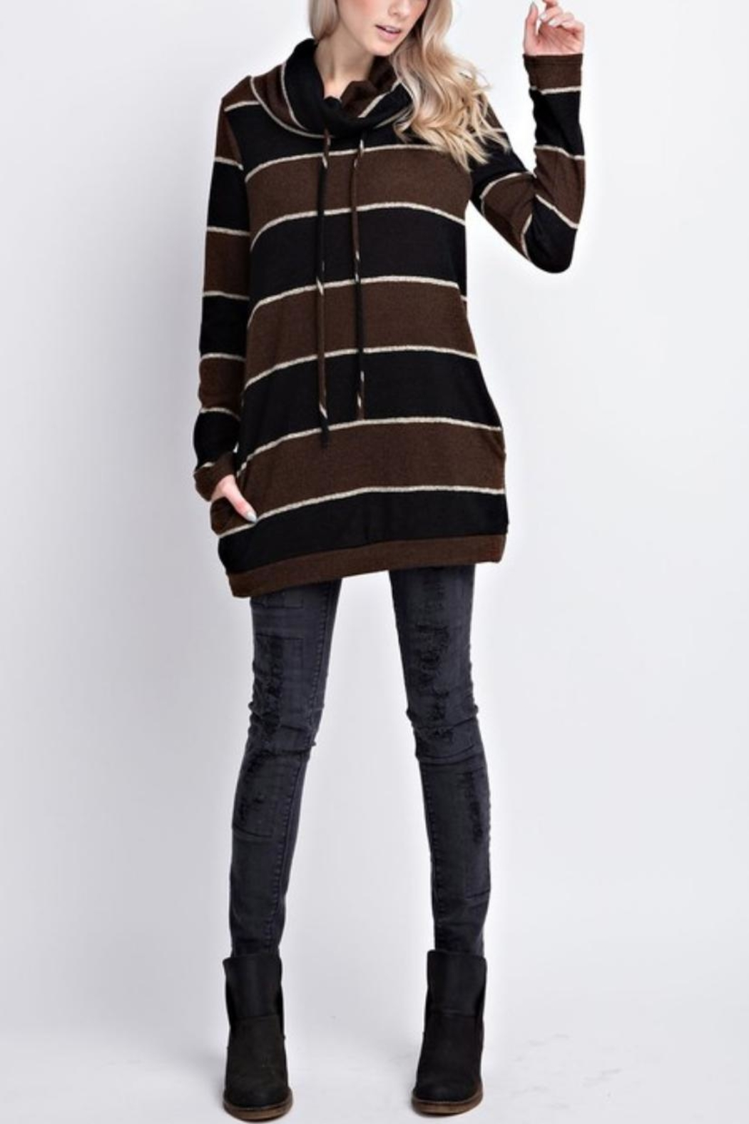 12pm by Mon Ami Striped Funnelneck Pullover - Side Cropped Image