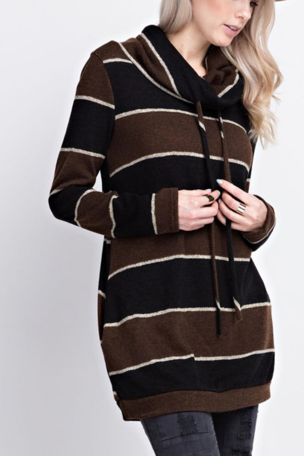 12pm by Mon Ami Striped Funnelneck Pullover - Main Image