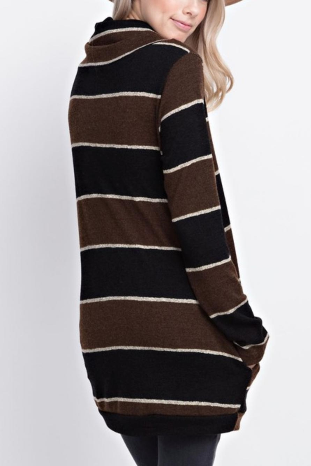 12pm by Mon Ami Striped Funnelneck Pullover - Front Full Image