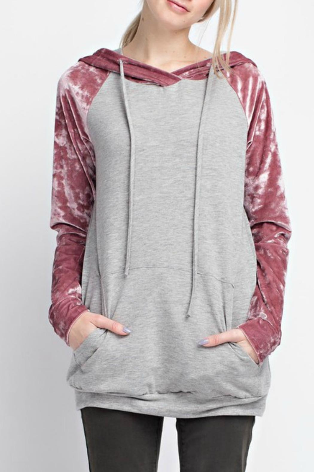 12pm by Mon Ami Velvet Sleeve Hoodie - Front Cropped Image