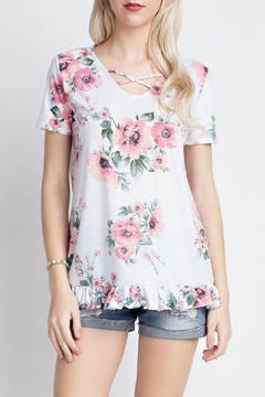 12pm by Mon Ami White Floral Tee - Alternate List Image