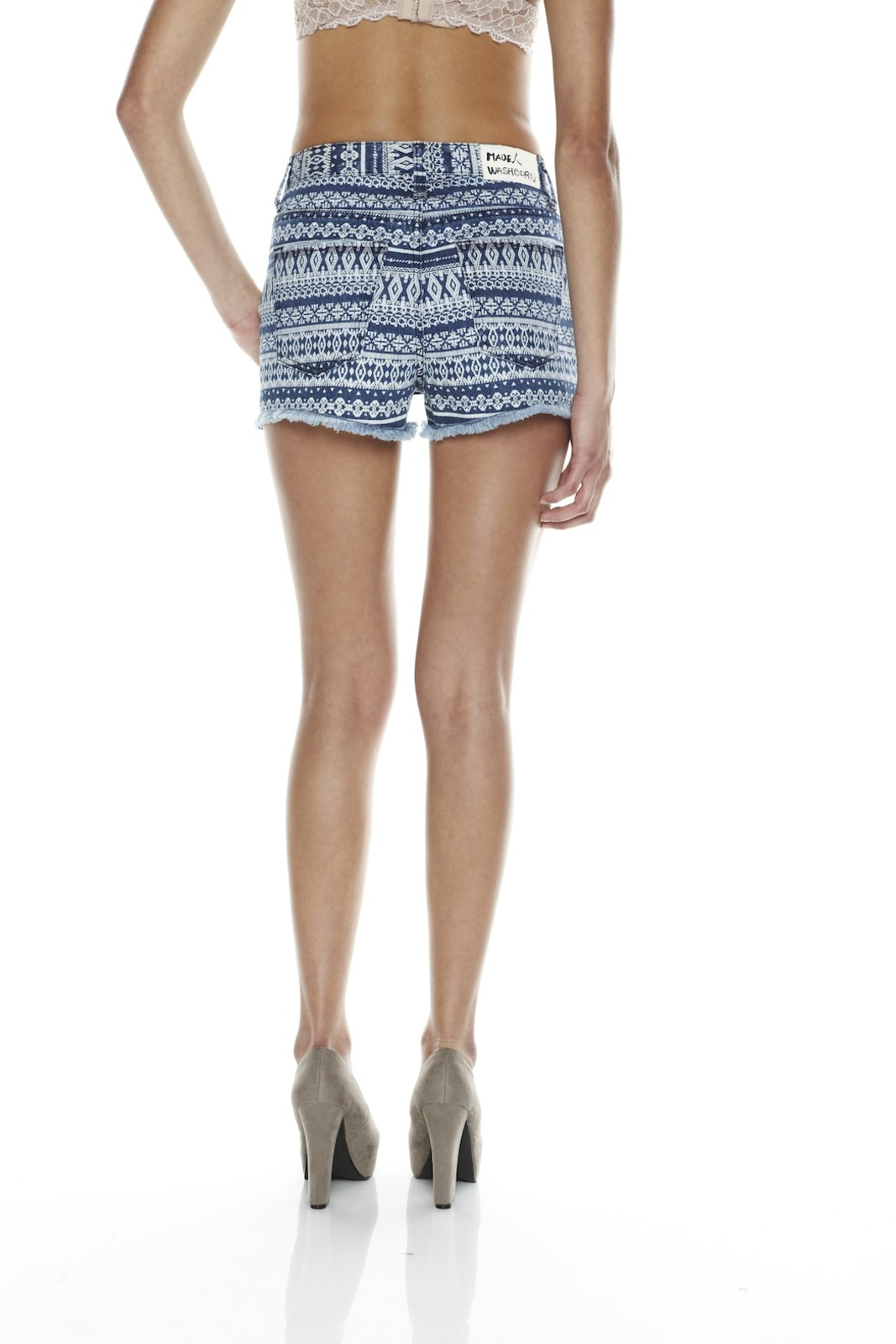Washborn Tribal-Print Shorts - Back Cropped Image