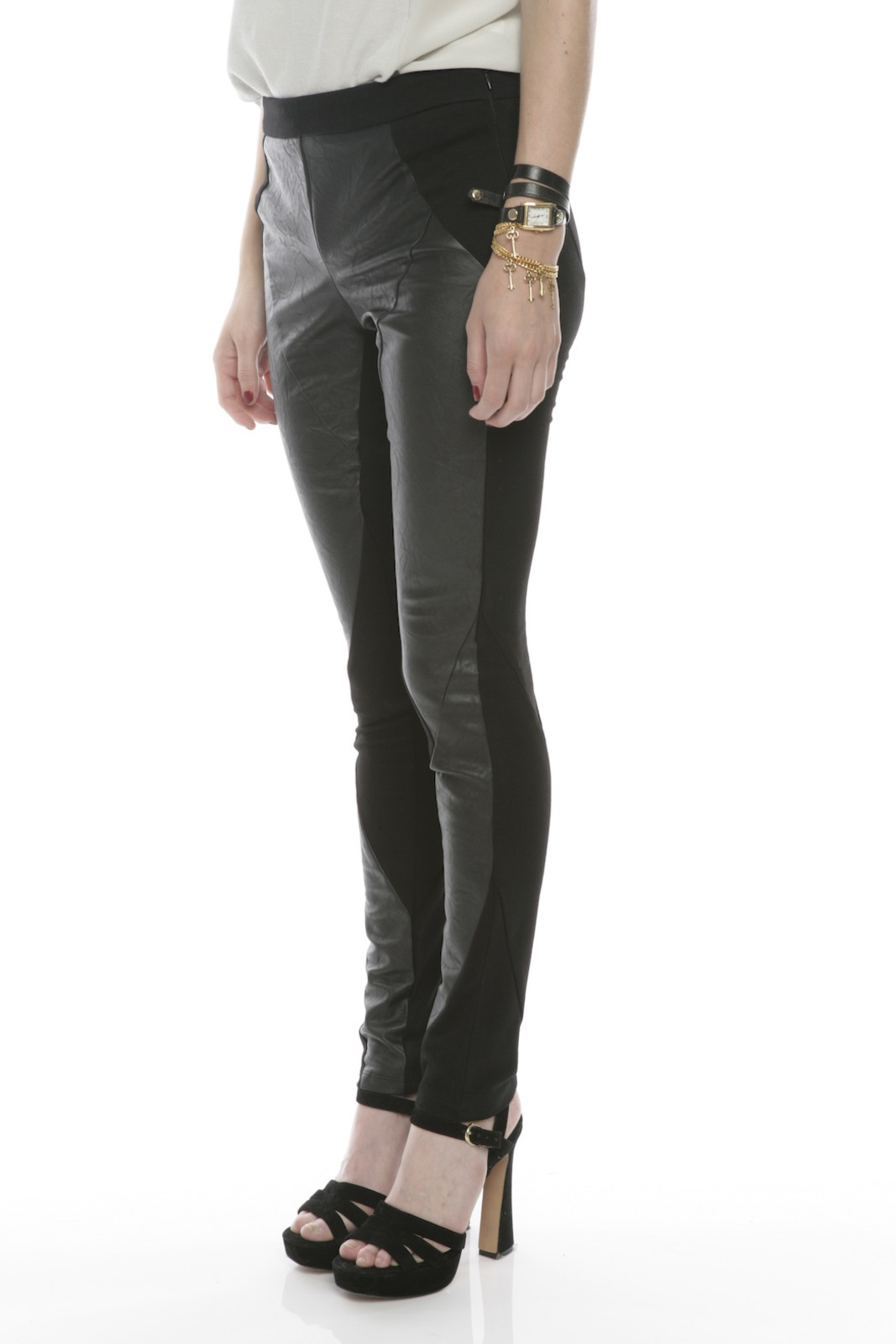 Ladakh Faux Leather Pants - Side Cropped Image
