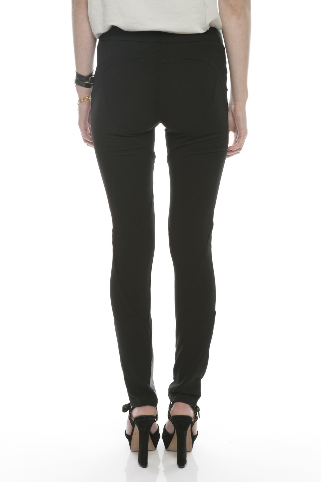Ladakh Faux Leather Pants - Back Cropped Image
