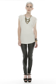 Ladakh Faux Leather Pants - Front full body