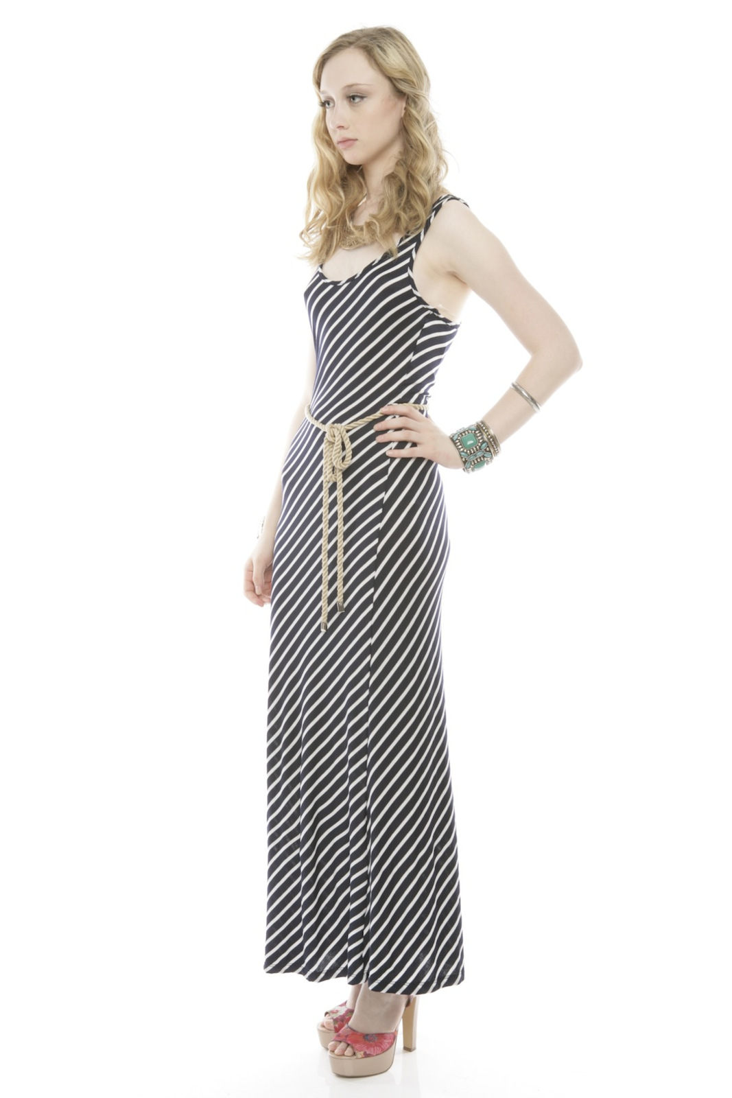 5th Culture Striped Maxi Dress - Front Full Image