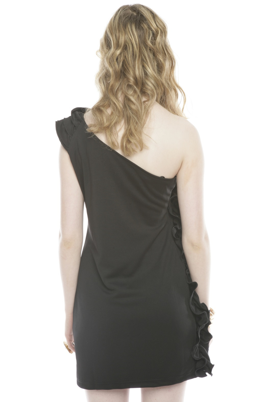 Wow Couture Ruffled One-Shoulder Dress - Back Cropped Image