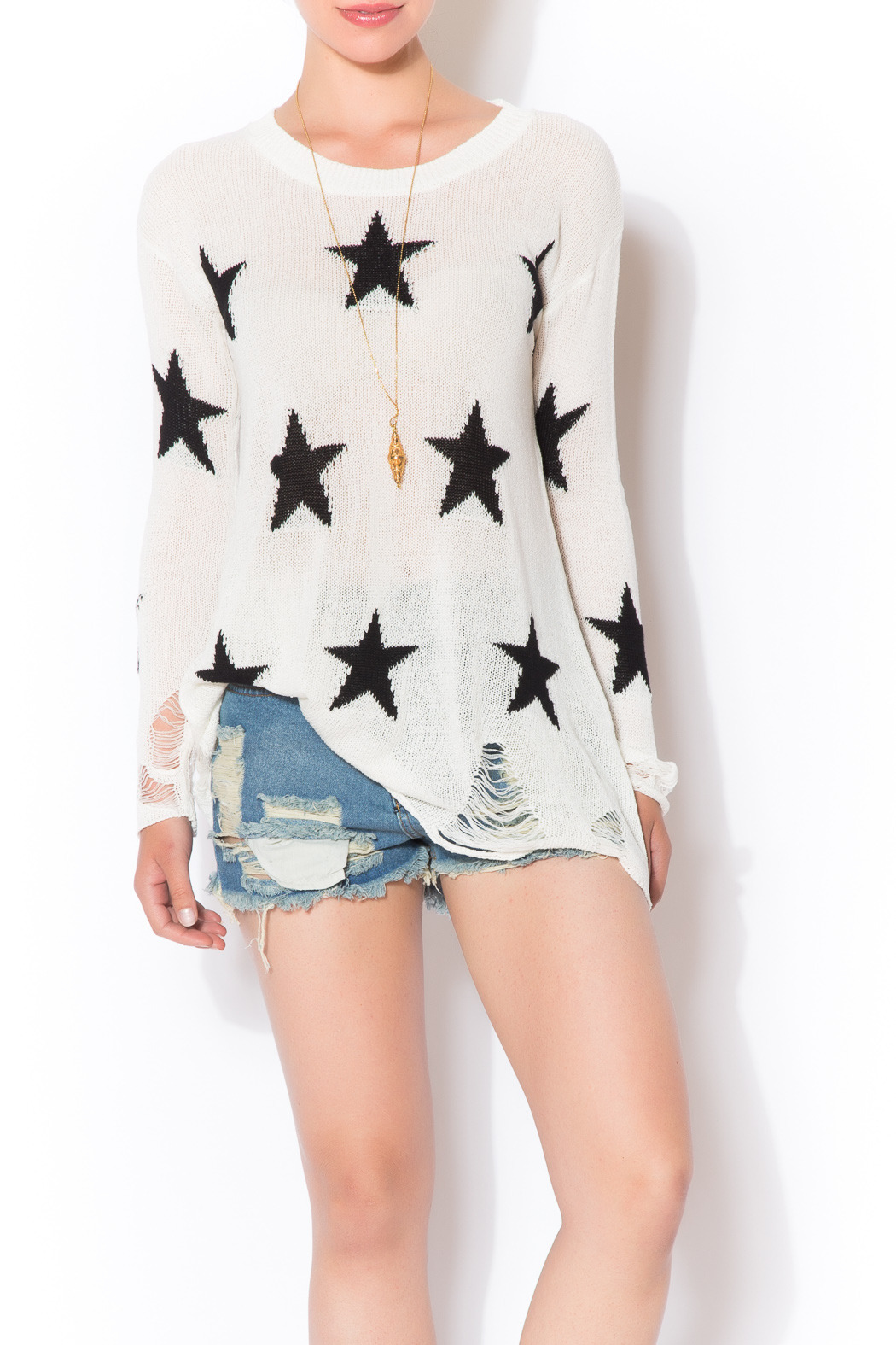 Star Shredded Sweater - Front Cropped Image