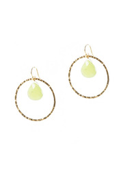 Shoptiques Product: Hammered Circle Quartz Earrings