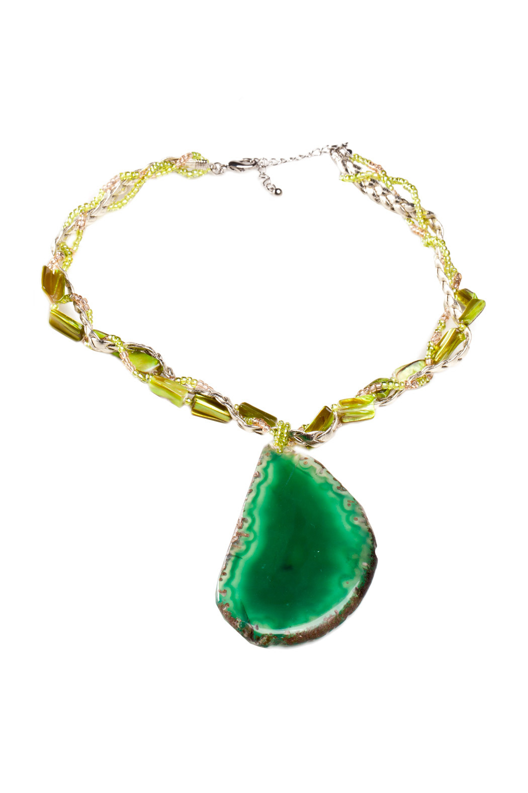 Creative Treasures Green Rock Necklace - Front Cropped Image