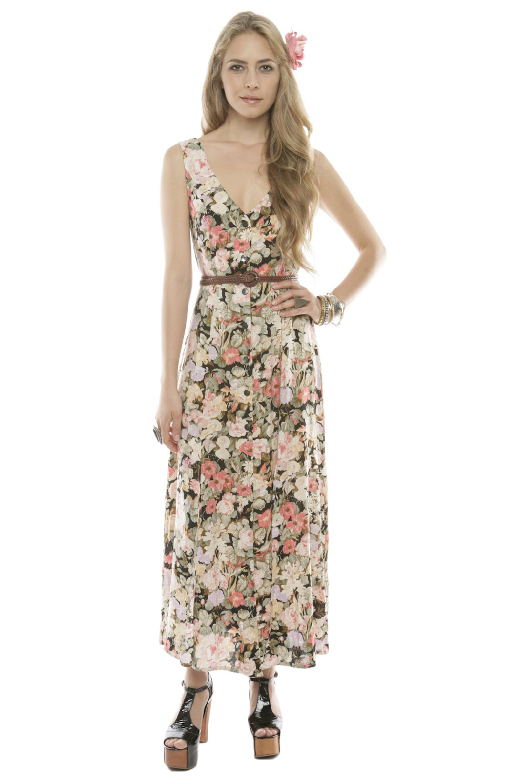 MinkPink Floral Button-Up Maxi Dress - Front Cropped Image