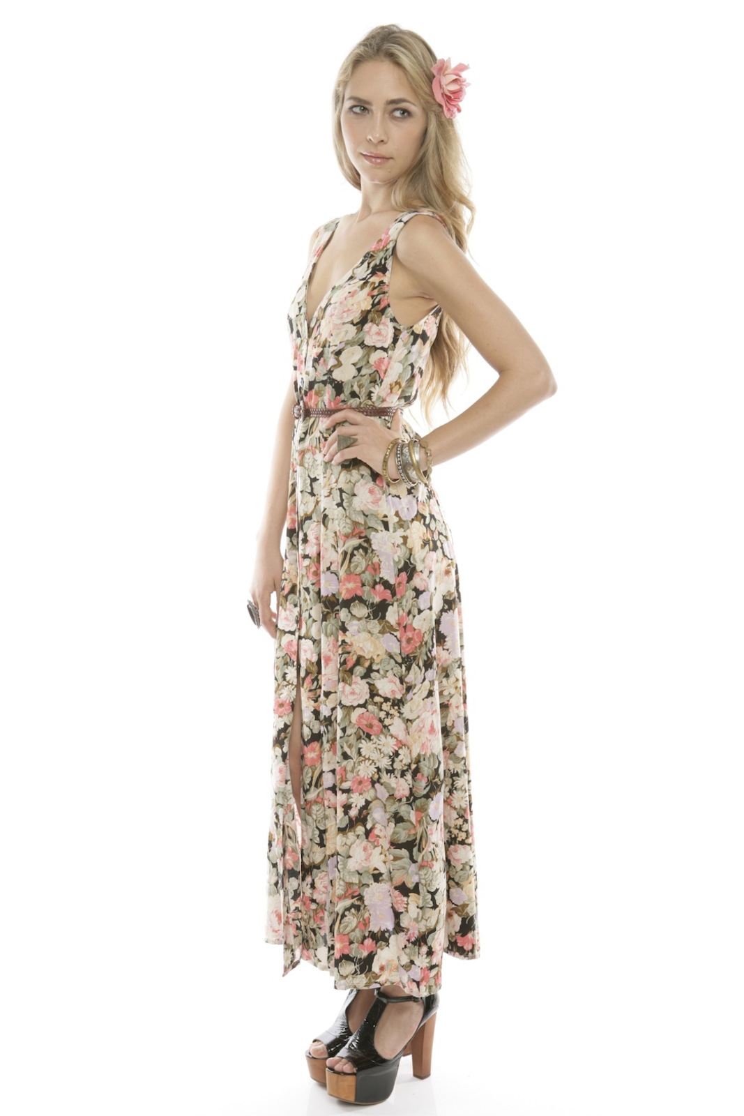 MinkPink Floral Button-Up Maxi Dress - Front Full Image