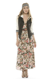 Shoptiques Product: Floral Button-Up Maxi Dress - Back cropped