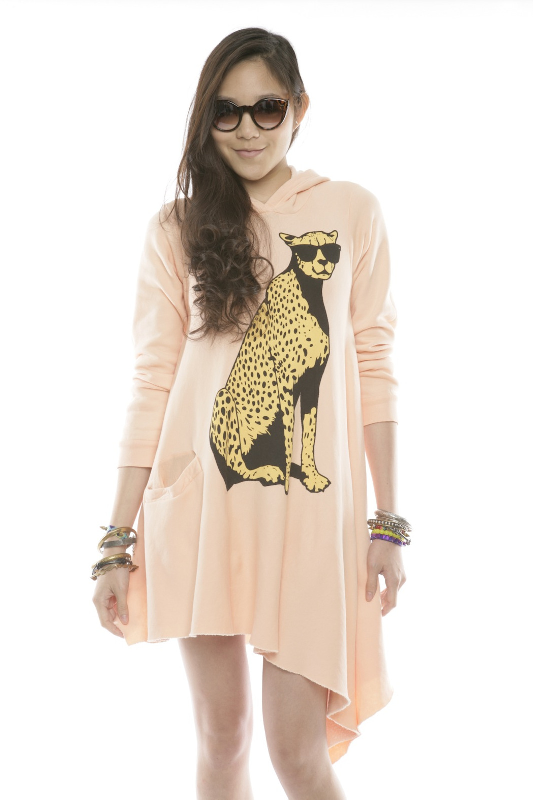 Wildfox Cheetah Hoodie Dress - Front Cropped Image
