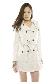 Lace Trench Coat - Front cropped